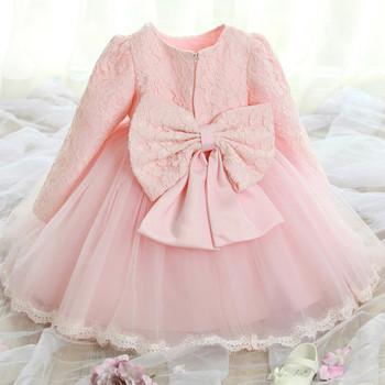 Детска рокля тип принцеса с дантелени декорации с/без ръкав