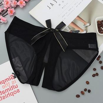 Дамски бикини с отвор и панделка в бял и черен цвят