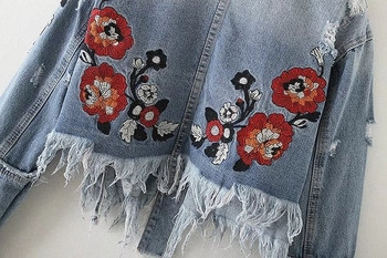 Spring-Fall Short Ladies Γυναικείο τζιν Μπουφάν  με Floral Κέντημα