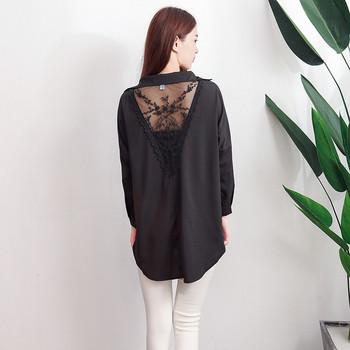 Дамска стилна риза в черен и бял цвят широк модел с бродерия на гърба