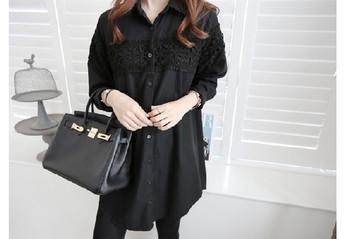 Дълга дамска риза в два цвята с бродерия