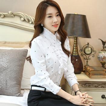 Дамска елегантна риза с волани по яката в бял цвят