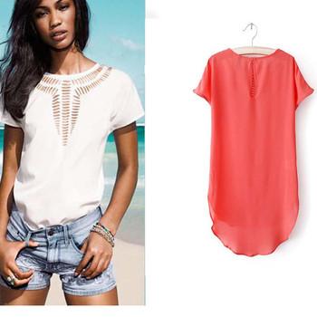 Дамска лятна блуза в няколко цвята с интересно деколте