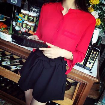 Дамска лятна риза с дълъг ръкав с декоративни джобове и панделка на ръкавите