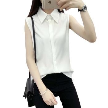 243a2fce7c2d Γυναικεία αμάνικο πουκάμισο σε λευκό χρώμα κατάλληλο για τη καθημερινή ζωή