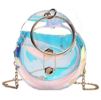 Небрежна дамска прозрачна чанта в кръгла форма с метална дръжка