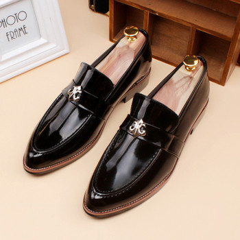 Мъжки официални обувки заострен модел от еко кожа в преливащ цвят в два модела