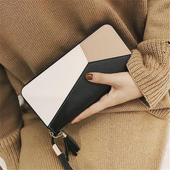 Νέο μοντέλο γυναικείο πορτοφόλι με μεταλλικά στοιχεία, μενταγιόν και εξωτερική ραφή