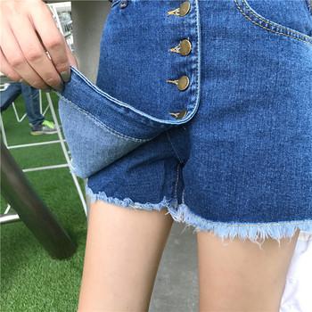 Актуални дамски дънки с декорация раздвижена пола в три цвята