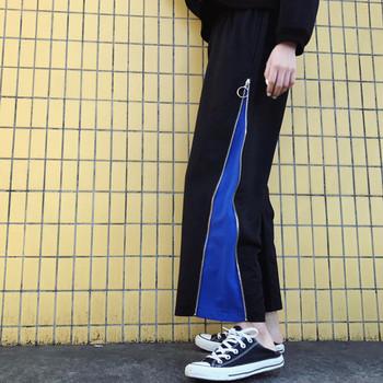 Спортно - ежедневен дамски панталон широк модел - черен цвят