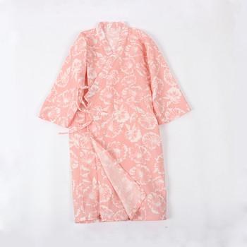 Дамски асиметричен халат в син и розов цвят с флорални мотиви
