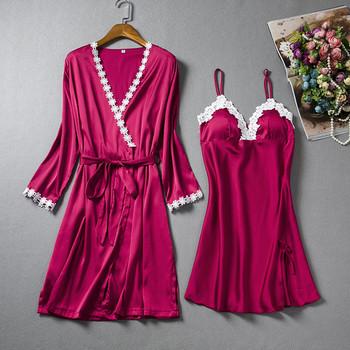 Дамски комплект от две части - нощница и халат с декорация дантела в няколко цвята
