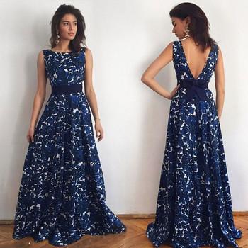 Дамска дълга рокля с отворен гръб и с елемент панделка