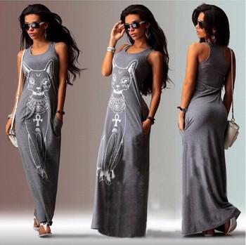 Дамска ежедневна рокля със средна дължина джобове и щампа