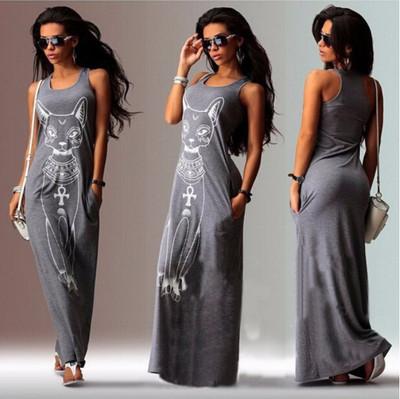 f4c08aae1ef badu.gr - Μακρύ καθημερινό γυναικείο φόρεμα με τσέπες και εκτύπωση