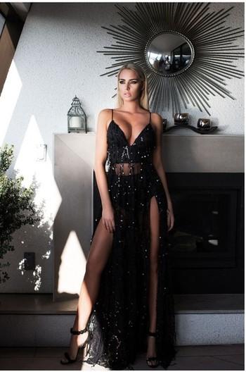 Дамска рокля в два цвята със странични цепки