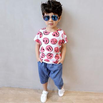Детска спортно-ежедневна тениска за момчета с цветни емотикони в два цвята