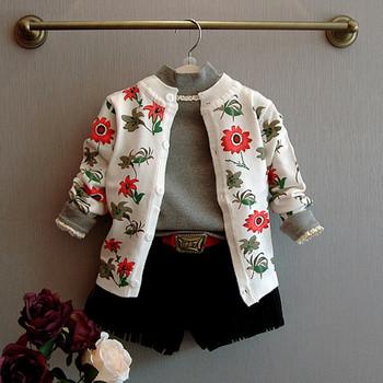 Детска жилетка за момичета с дълъг ръкав и О-образна яка във флорални мотиви