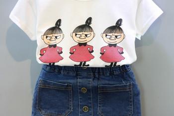 Παιδικό σύνολο για τα κορίτσια σε δύο μέρη T-shirt με λουλούδι απλικέ και  τζιν c2997485800
