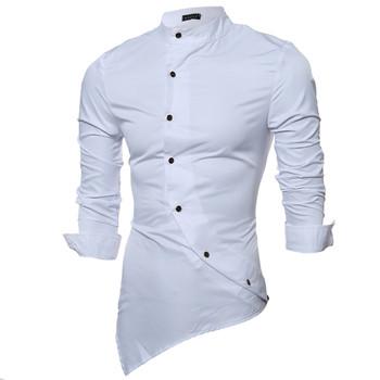 Мъжка риза със странично закопчаване и навиващи се ръкави