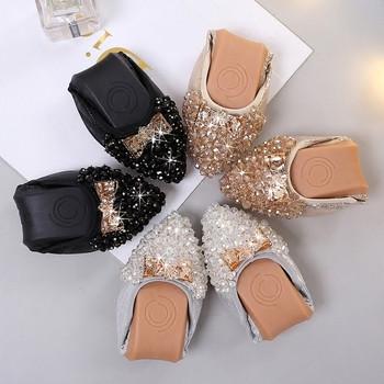 Актуални дамски обувки с богата декорация от мъниста и мека подметка в няколко цвята