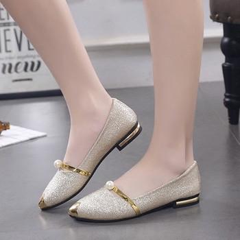 Дамски заострени обувки с брокат  и метални елементи в три цвята - златен, сребърен и черен