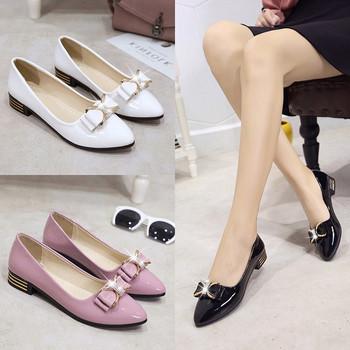 Модерни дамски лачени обувки с панделка в три цвята - бял, черен и розов