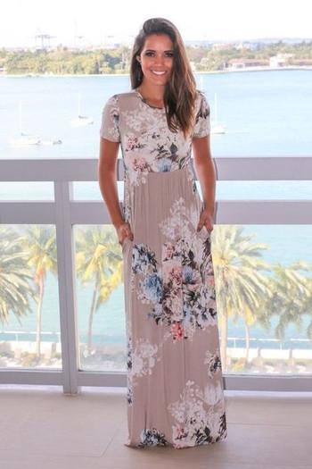 Лятна дамска рокля с къс и дълъг ръкав в различни цветове с флорални мотиви