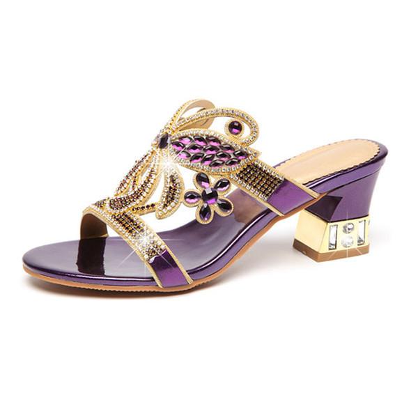 b9639a7afbb Елегантни дамски чехли на лек ток в три цвята с декоративни камъни -  Badu.bg - Светът в ръцете ти