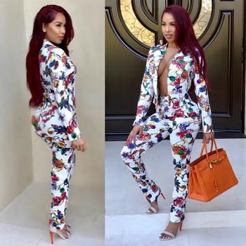 Γυναικείο κοστούμι - σακάκι και μακρύ παντελόνι με πολύχρωμα μοτίβα ... 2156ac18ff9