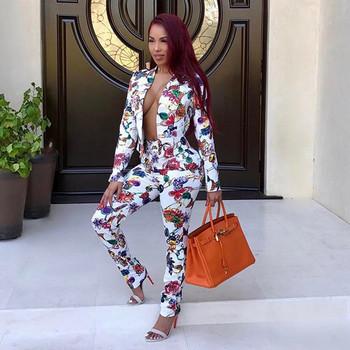 Дамски костюм от две части сако и дълъг панталон с цветни мотиви