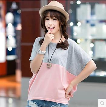 Дамска блуза с къс ръкав в свободен стил в два цвята