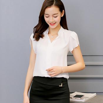 Тънка дамска риза с къс ръкав в различни цветове