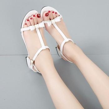 Дамски ежедневни сандали с тънки каишки и елемент панделка