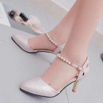 Нежни затворени сандали с перли по каишката и златист ток в три цвята