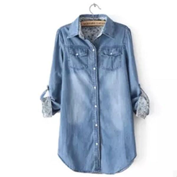d5d9c3c6855 Дамска дълга дънкова риза с навиващи се ръкави в два цвята - Badu.bg -  Светът в ръцете ти