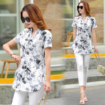 Дамска лятна риза с флорални мотиви подходяща за ежедневие
