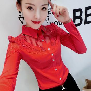 Дамска стилна риза с дантела и бродерия в няколко модела