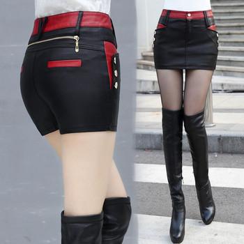 Пола-панталон от еко кожа с декорация цип и копчета в два цвята