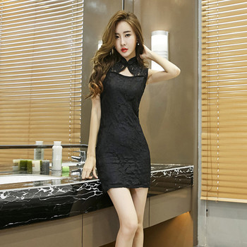 9d68e6b573e9 Γυναικείο φόρεμα με δαντέλα σε κόκκινο και μαύρο χρώμα - Badu.gr Ο ...