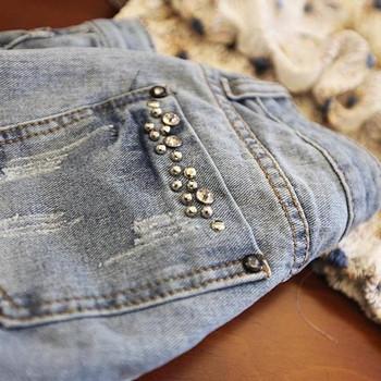 Дамски  къси дънкови панталони с декорация камъни
