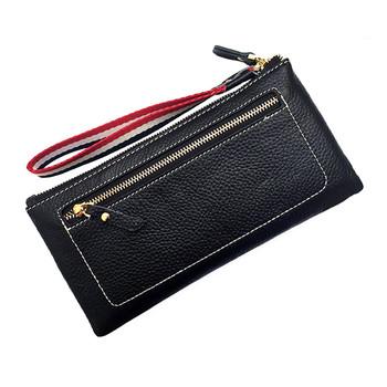 Γυναικείο πορτοφόλι με φερμουάρ από οικολογικό δέρμα σε διάφορα χρώματα