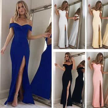 Елегантна вечерна дълга рокля в пет цвята с голи рамене и цепка