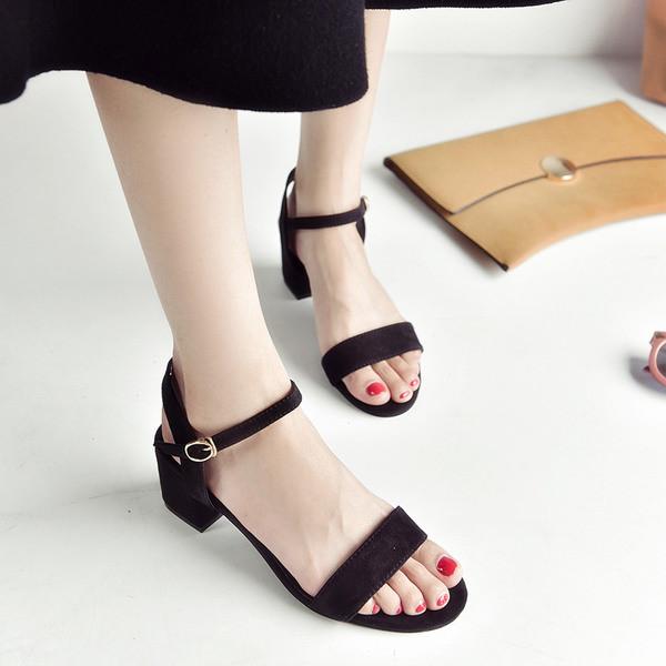 5dc12c3ca88 Ежедневни дамски сандали велурени с нисък дебел ток - три цвята - Badu.bg -  Светът в ръцете ти