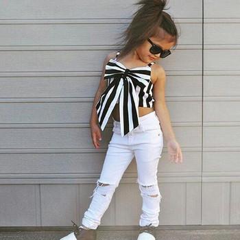 Детски стилен комплект- потник с панделка и дънки с разкъсани мотиви