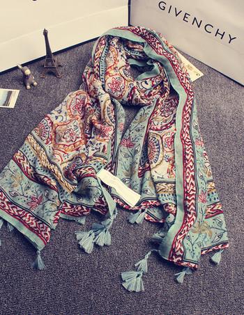 Дамски тънък дълъг шал за лятото в свежи цветове