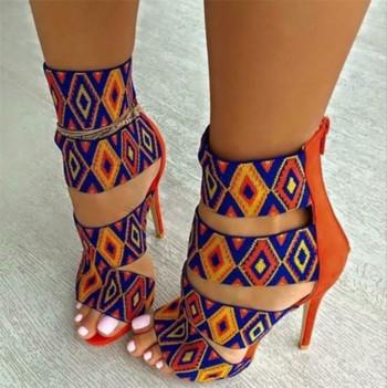 Дамски сандали на висок ток с широки каишки в етно мотив - 2 модела