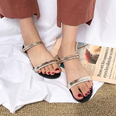 Дамски чехли с равна подметка в два цвята