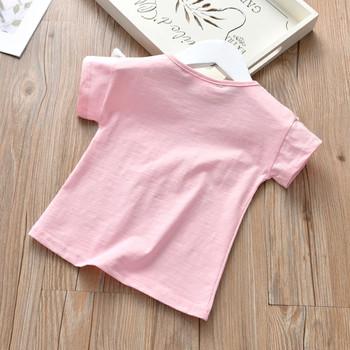 Детска тениска за момичета с пискюли в бял, розов и червен цвят