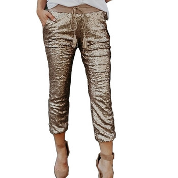 Дамски стилен панталон в златист цвят